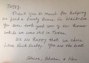 Photo of hand written testimonial