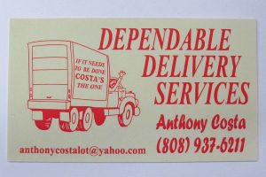 Business Card For Anthony Costa of Dependable Delivery Services
