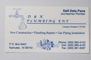 Business Card For Dell Dela Pena of D&K Plumbing Ent