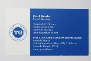Business Card for Carol Mendes of Title Guaranty