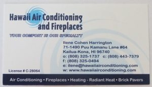 Business Card For Ilene Cohen Harrington of Hawaii Air Conditioning and Fireplaces