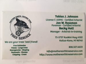 Business Card For Tobias J. Johnson, Jon W. Rossman, and Becky Holt of Mother Earth Tree Service