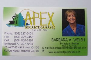 Business Card For Barbara A. Welsh of Apex Mortgage