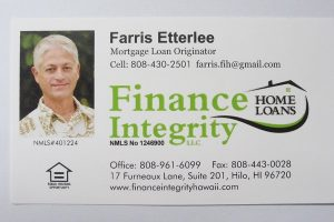 Business Card For Farris Etterlee of Finance Integrity