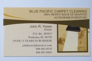 Business Card For John R. Howe of Blue Pacific Carpet Cleaning