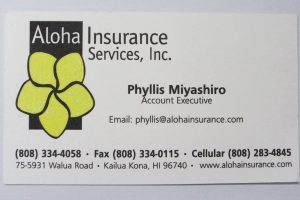 Business Card For Phyllis Miyashiro of Aloha Insurance Services, Inc.