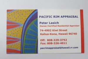 Business Card For Peter Lasich of Pacific Rim Appraisal