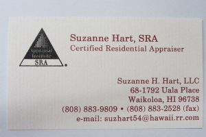 Business Card For Suzanne Hart