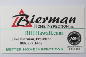 Business Card For Jake Bierman of Bierman Home Inspection