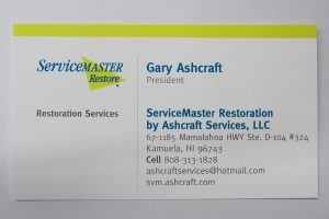 Business Card For Gary Ashcraft of ServiceMaster Restore