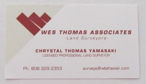 Business Card for Chrystal Thomas Yamasaki of Wes Thomas Associates