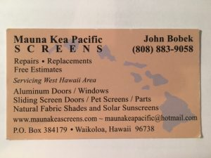 Business Card for John Bobek of Mauna Kea Pacific Screens